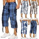 Hommes shorts cargo | (Coupe décontractée) Sporting Capri à damiers, pantalons cargo courtes pour l'été, bermudas avec impression et cordon de serrage contrôlé | H1714 Max Hommes