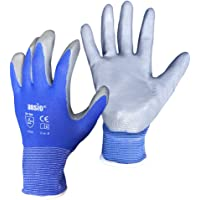 ANSIO 10 Pairs Work gloves PU Palm Dipped Blue/Grey Nylon General Handling Work Gloves - Small - 7