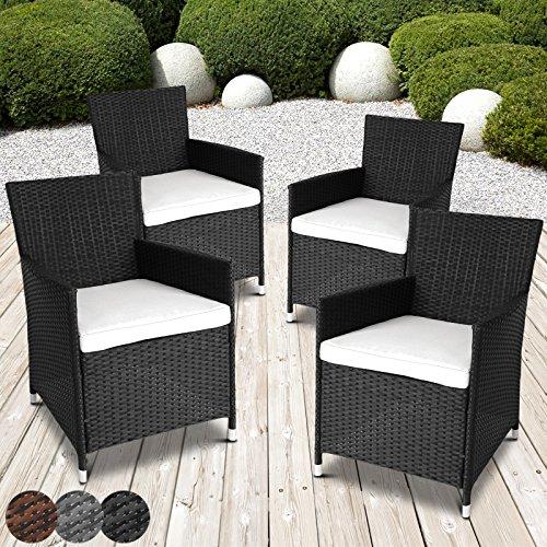 miadomodo garden furniture set of 4 rattan chairs seat cushions