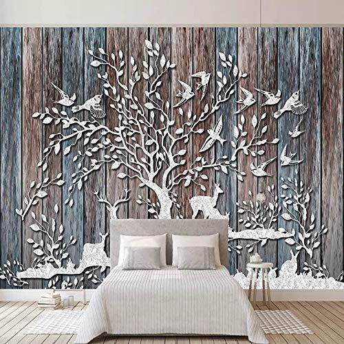 Murales Papel Tapiz 3D Ciervos Bosque Retro Tablero
