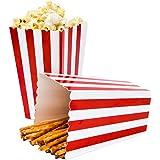 Ouinne Popcorn Boîtes, 24PCS Boîtes à Popcorn Conteneurs Cartons Sacs en Papier Boîte à Rayures pour pour La fête (Rot)