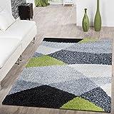 T&T Design Moderner Hochflor Teppich Shaggy Vigo Gemustert in Schwarz Grau Weiß Grün Top Preis!!, Größe:160x220 cm