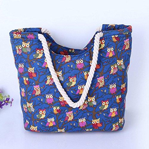 AISI da donna estate spiaggia tela borsetta oversize Holiday Tote shopping bag, donna, Beige Blue