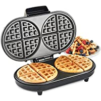 VonShef Large Round Waffle Maker – 2 Slice Waffle Iron with Non-Stick Coating & Automatic Temperature Control – Compact Design, 1200W