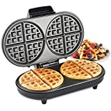 VonShef Round Waffle Maker - Large 2 Slice Waffle Iron with Non-Stick Plates & Automatic Temperature Control - 1200W