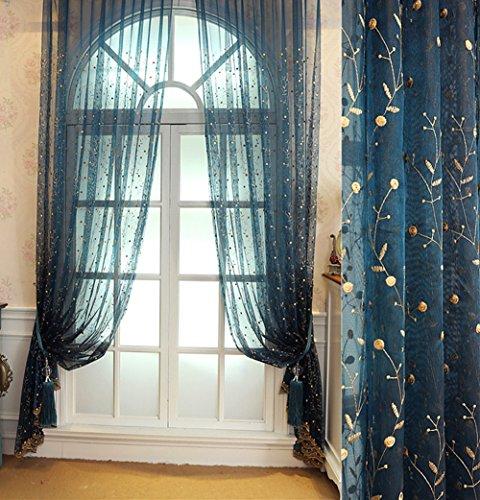 abcwoo Exquisites Design Home Deko europern Style Sheer bestickt Vorhang Drape Voile Panel für Schlafzimmer Esszimmer und Wohnzimmer (1Panel, W 52x l 213,4cm, blau), Polyester-Mischgewebe, blau, 52W x 63L Inch, 1 Panel (Ombre Sheer Panel)