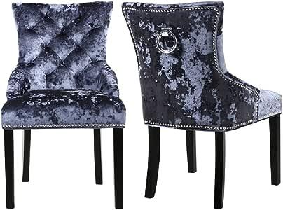 Warmiehomy 2er Set Esszimmerstühle aus zerquetschtem Samt Mit Knöpfen versehene Küchenstühle mit Nieten und Klingelbeinen aus Chrom und Walnussholz