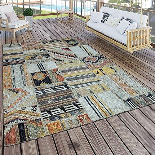 Paco Home Tappeto per Interni e per Esterni Etnico Giallo Crema Rosso, Dimensione:60x100 cm