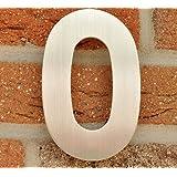 Hausnummer Nr. 0 - Edelstahl gebürstet - 15 cm - witterungsbeständig - einfache Montage