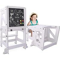 YOLEO Torre di Apprendimento Pieghevole, Sgabello Montessori con Lavagna Magnetica Bifacciale, Learning Tower…