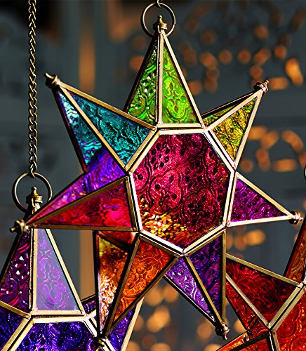 MOROCCAN STYLE STAR HANGING GLAS...