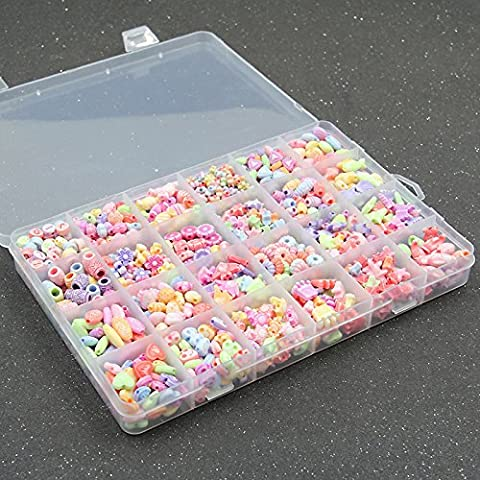 Children DIY String Beads Set Acrylic with Plastic Box 24 cells & mixed & bead in bead 6-10mm Hole:Approx 1-2mm (24 cells 4-10mm, Candy