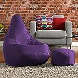 Juego de puf y reposapiés a juego Hi-BagZ, 100% cuidado fácil, pufs grandes púrpuras.