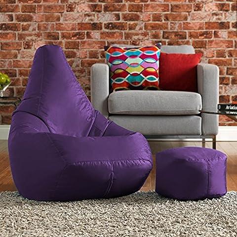 Hi-BagZ Bean Bag Chair & Matching Footstool Combo - 100% Easy Care High Back Bean Bags PURPLE