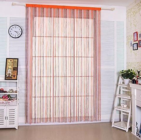 Rideau fils 90x 200cm à spaghetti arc-en-ciel pour Home Decor et séparation avec rayures Creative Design Pompon