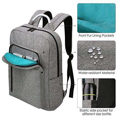 Imagen de  portátiles 15.6, reyleo morrales impermeables laptop backpack para hombre mujer estudiante tipo casual al negocio trabajo casual 19l gris claro alternativa