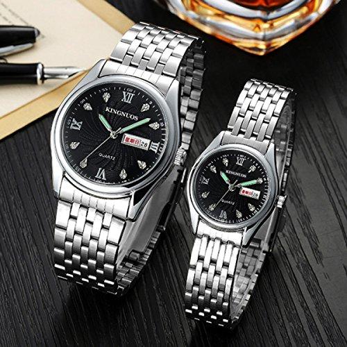 SNHWARE Männer Und Frauen-Uhr-Mode-Diamant-Dual-Kalender Nicht Mechanische Wasserdichte Uhr,WOMEN