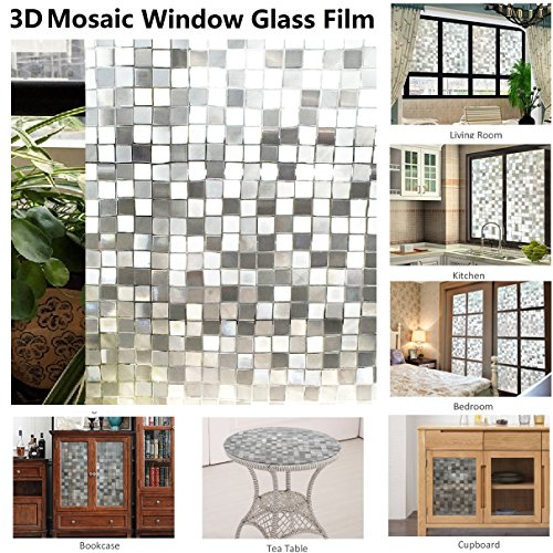 "Resuable Window Film,3D Mosaic Pattern,No Adhesives Vacuum Adsorption,Anti-UV,Privacy Glass Decoration Film 11.8""x78.7""/30x200CM"