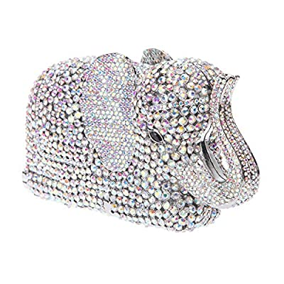Bonjanvye Crystal Elephant Clutch Purse Wedding Handbags and Clutches