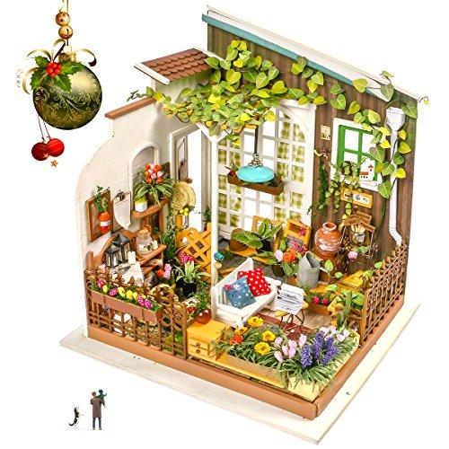 Rolife Miniatur Puppenhaus mit Licht Open Garden Modell Set Mini Holzhaus für Erwachsene Mädchen(Mlller's Garden) -
