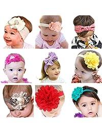 Emitha Bébé Fille Bow Bandeau Turban fleur Bandeaux élastique serre-tête Wrap Photographie Belles Cheveux Accessoires - 9 pièces