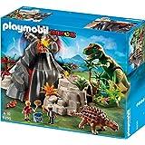 Playmobil - 5230 - Jeu de Construction - Tyrannosaure et Saichania avec Volcan