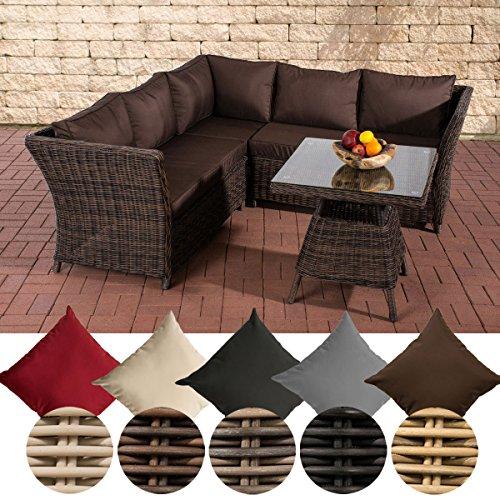 CLP Polyrattan-Gartenlounge SANTA LUCIA in Rundrattan | Möbelgarnitur bestehen aus einem Ecksofa und einem Tisch | Sitzgruppe für bis zu sechs Personen Rattan Farbe: braun-meliert, Bezugfarbe: Terrabraun