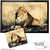 Set: 1 Fußmatte Türmatte (60x40 cm) + 1 Mauspad (23x19 cm) - Raubkatzen, Majestätischer Löwe