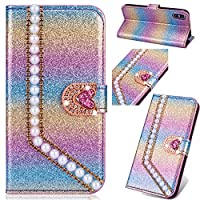 6City8Ni Kickstand Amazing Compatible with Samsung J3 2017,Brilliant Bling Glitter Loves Diamond Sparkle Flip Wallet Leather Stand Function Slim Bookstyle Magnetic Switch Closure Card Slots
