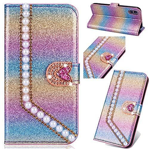 Bookstyle Bling Loves für Huawei P30 Pro,Glitter Glitzer Diamond Musterg Slim Retro Klassisch Modisch Ledertasche Stand Funktion Kartenfach Magnetverschluss Flip Wallet Hülle Schutzhülle Handy-cover Rainbow Glitter