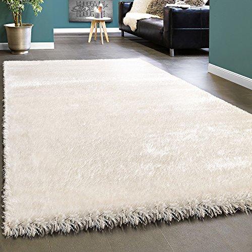 Elegante tappeto shaggy pelo alto tinta unita morbido brillante in crema bianco, dimensione:120x170 cm