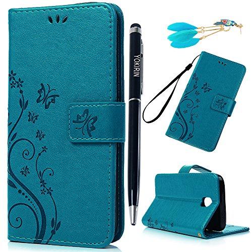 rhülle Wallet Case für Samsung Galaxy J5 2017 PU Leder Handyhülle Flipcase Ständer Case Bookstyle Schutzhülle Magnetverschluß Karteneinschub Handschlaufe Schmetterling Blau ()