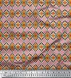 Soimoi Rosa Seide Stoff Diamant & Chevron geometrisch Stoff