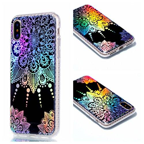 Pour Apple Iphone X Case Cover, Ecoway TPU Soft Motif de placage en couleur personalized pattern Housse en silicone Housse de protection Housse pour téléphone portable pour Apple Iphone X - diamant chrysanthème