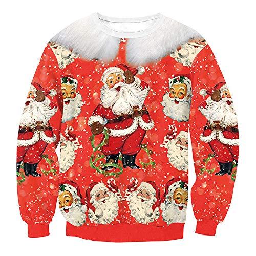 Carolilly Unisex Weihnachtspullover Sweatshirt Ugly Christmas Sweaters Xmas Schneeflocken Pulli Sweater (Santa Claus, XL)