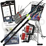 NGT Fishing 2x Beachcaster Set 2 x Silk 70 Reels Tripod Feathers Leads