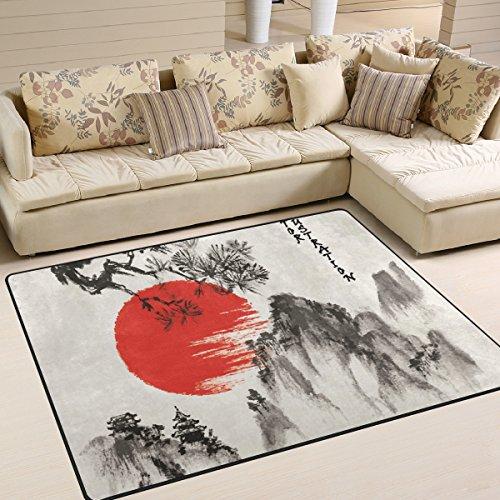 JSTEL Super Soft modernen japanischen Landschaft, EIN Wohnzimmer Teppiche Teppich Schlafzimmer Teppich für Kinder Play massiv Home Decorator Boden Teppich Matte und Teppiche 160x 121,9cm Japanischen Boden