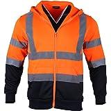 FONIRRA Herren reflektierendes Sicherheits Sweatshirt mit Kapuze, Warnschutz-Arbeitsjacke mit Reißverschluss