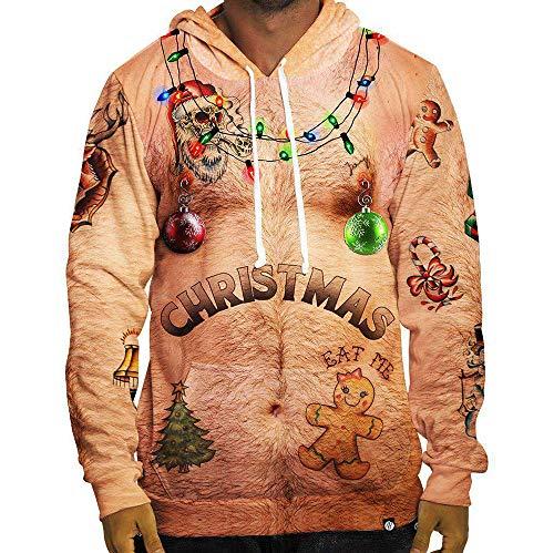 LAYAN-B Männer hässliche Weihnachten Pullover 3D Print Neuheit Weihnachten Langarm-Sweatshirts