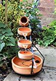 HOME HUT® Solar Cascade Water Feature in Terracotta/Blue with LED Light and Battery Garden (Terracotta)