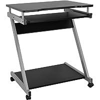 VASAGLE Schreibtisch, Computertisch mit 4 Rollen, 2 Davon mit Bremsen, PC-Tisch leichtgängiger Tastaturauszug…
