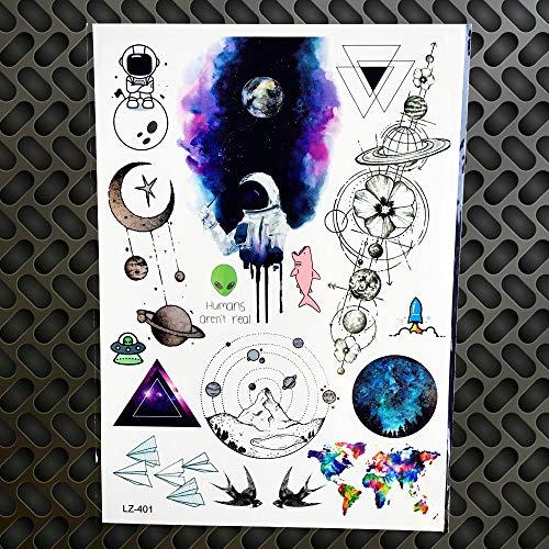 leber Wasserdichte Sky Galaxy Tattoos Geometrie Aquarell Deer Lion Triangle Schwarz Body Art Arm Tattoos Aufkleber Glz401 ()