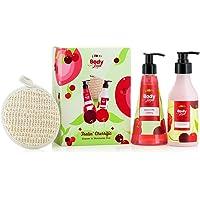 Plum BodyLovin' Feelin' Cherrific Shower n' Moisture Duo   Gift Set   Signature Cherry Fragrance   Loofah Inside…