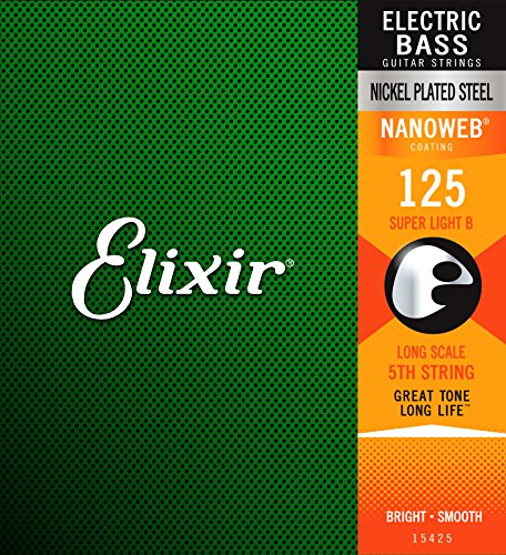 Elixir 15425 Electric Bass String Nanoweb Coating .125 Long Scale - 5-string Bass Electric