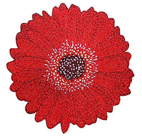 FLOWERS Red Daisy, Officially Licensed Original Design, High Quality Iron-On / Sew-On, 3.5