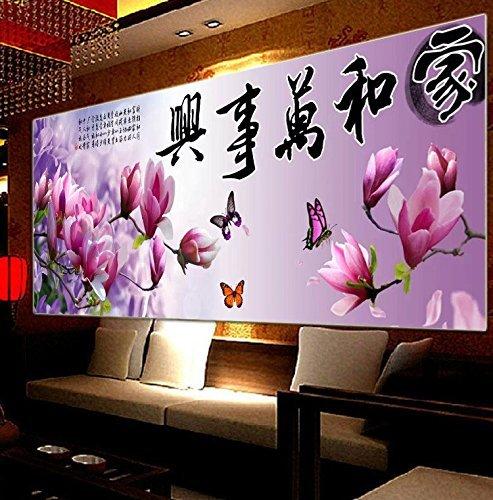 punto croce, fiore, calligrafia, viola, stile cinese, C0128
