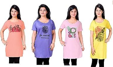 Devil Long Top Nightwear for Women| Graphic Print Short Nighty| Nightwear Tshirt for Girls (Pack of 4)