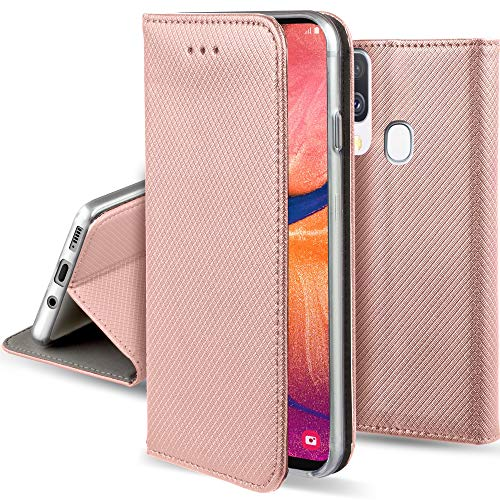 Moozy Hülle Flip Case für Samsung A20e, Rose Gold - Dünne Magnetische Klapphülle Handyhülle mit Standfunktion