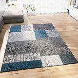 VIMODA Teppich Kurzflor in Türkis Blau Grau Weiß Wohnzimmer Teppiche Modern Kachel Optik Pflegeleicht 120x170 cm