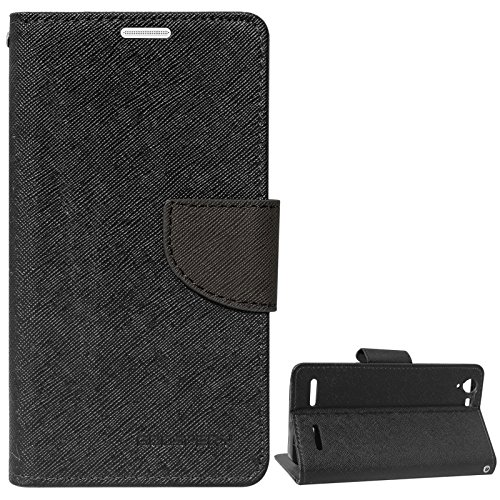 DMG Diary PU Leather Flip Cover Wallet Stand Case for Lenovo Vibe K5 Plus (Black)